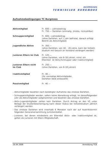 Aufnahmebedingungen TC Burgmoos - Tennisclub Burgmoos ...