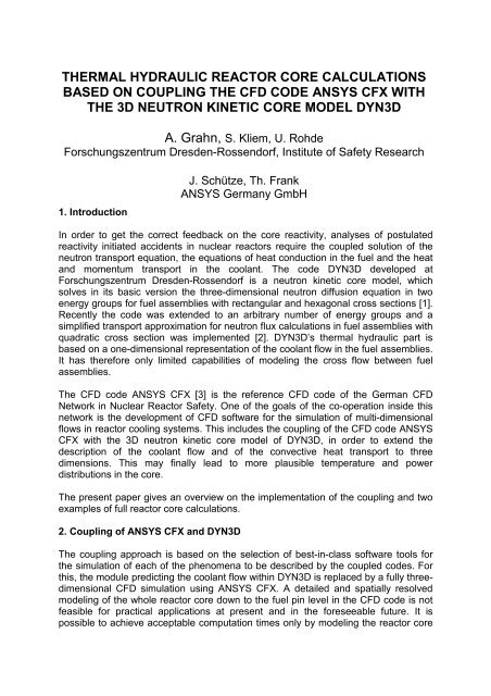 thermal hydraulic reactor core calculations based on     - Th  Frank