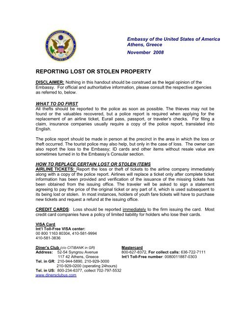 Reporting Lost Or Stolen Property Embassy Of The United States