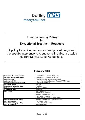 Commissioning policy for exceptional treatment requests - National ...