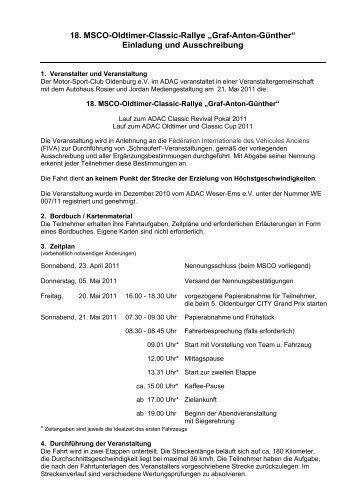 "18. MSCO-Oldtimer-Classic-Rallye ""Graf-Anton-Günther"" Einladung ..."
