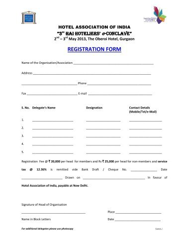 Just registration forms including hotel cuma credit union registration form hotel association of india altavistaventures Images
