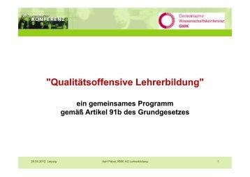 Die Qualitätsoffensive Lehrerbildung der GWK - ZLH-Hamburg