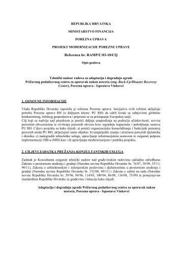 Opis poslova - Porezna uprava