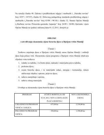 Cijena vrtića - Općina Matulji