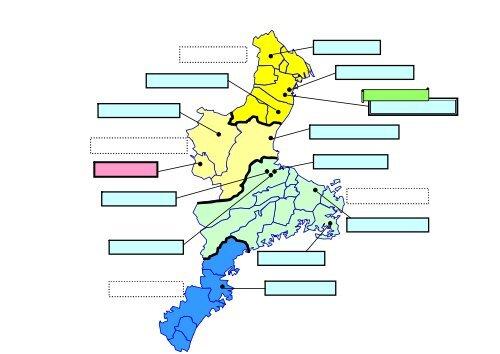 三重県内の災害拠点病院の配置図...