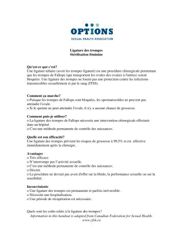 Information in this handout is adapted from Canadian Federation for ...