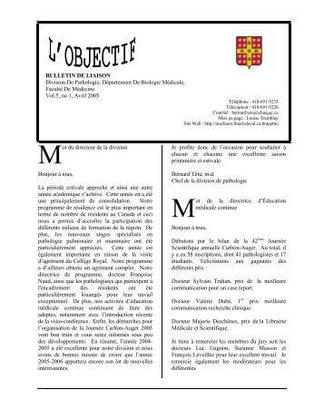 ot du directeur de la division Bonjour à tous, La ... - Université Laval