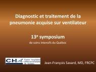 Diagnostic et traitement de la pneumonie acquise sur ventilateur ...