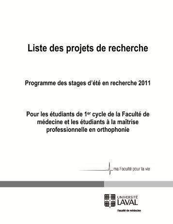 Liste des projets de recherche - Faculté de médecine - Université ...
