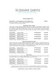Price Guide 2011 - Suzanne Jarvis Photography