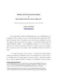 Production pluraliste du droit et reconstruction de l'État africain ?