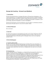 Konzept Job Coaching – Züriwerk Land (Bubikon)