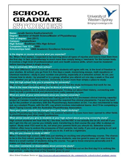 Name: Janath Samira Kasthuriarachchi Degree: Bachelor of Health ...