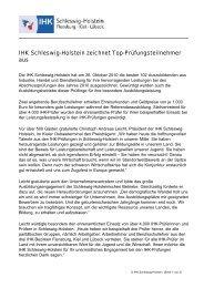 IHK Schleswig-Holstein zeichnet Top-Prüfungsteilnehmer aus