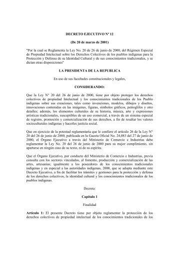 Decreto Ejecutivo No. 12 del 20 de marzo de 2001 - Meduca