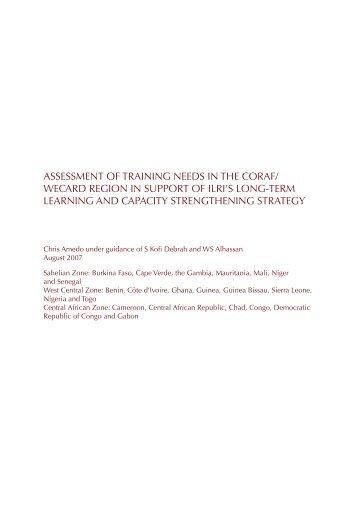assessment of training needs in the coraf - International Livestock ...
