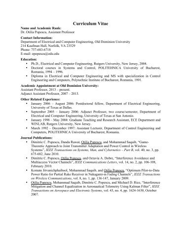 Dr. Popescuu0027s CV. (PDF)   College Of Engineering And Technology  Cv Engineering