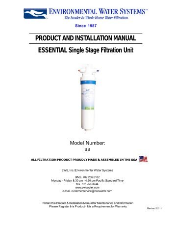 ESSENTIAL Single Stage Filter – SS - Environmental Water Systems