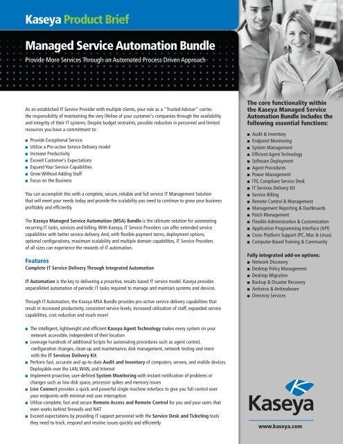 Managed Service Automation Bundle Kaseya Product Brief