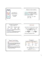 Models of Acids and Bases Acid-Base Equilibrium Weak Acids ...