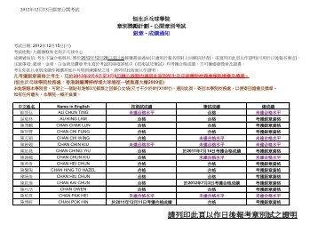 請列印此頁以作日後報考章別試之證明 - 香港乒乓總會
