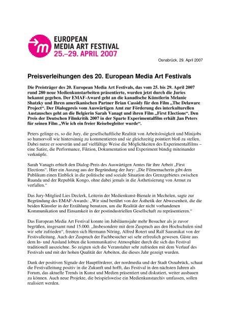 Pressemitteilung - EMAF