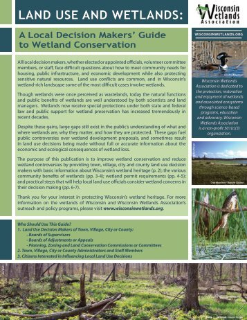Land Use and Wetlands: A Local Decision Makers' Guide to Wetland ...