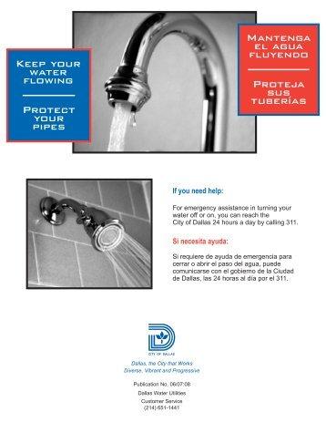 Proteja sus tuberías Mantenga el agua fluyendo ... - City of Dallas