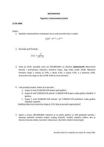 MATEMATIKA Trgovina i računovodstvo (stari) 15.05.2009. Zadaci ...