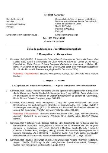 Dr. Rolf Kemmler Lista de publicações ... - diacronia.de