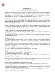 Regolamento per la gestione del Registro delle Persone Rilevanti