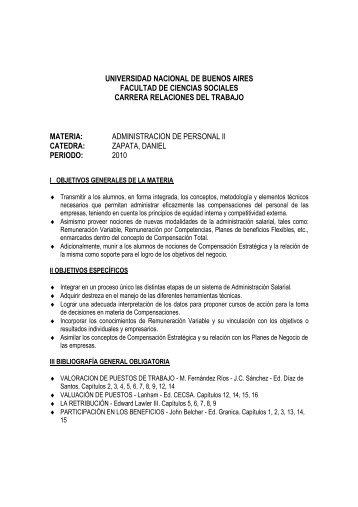 adm personal II zapata 2010 - Carrera de Relaciones del Trabajo ...