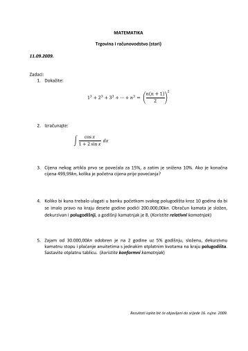 MATEMATIKA Trgovina i računovodstvo (stari) 11.09.2009. Zadaci ...