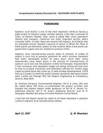 Comprehensive Industry Document On SULPHURIC ACID PLANTS