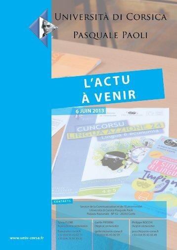 L'ACTU À VENIR - Università di Corsica Pasquale Paoli