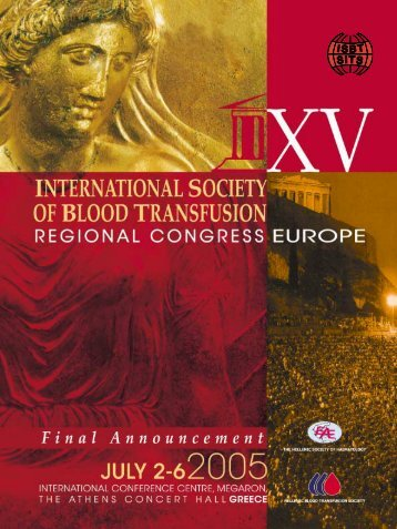 scientific programme - International Society of Blood Transfusion