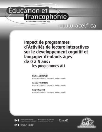 Impact de programmes d'Activités de lecture interactives sur ... - acelf