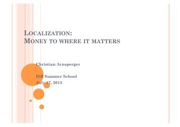 localization: money to where it matters - Institute for Social Banking