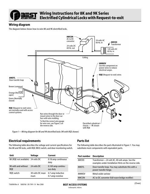 wiring instructions for 8k and 9k series electrified cylindrical locks