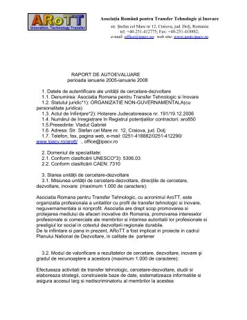 Asociaţia Română pentru Transfer Tehnologic şi Inovare ... - arott.ro