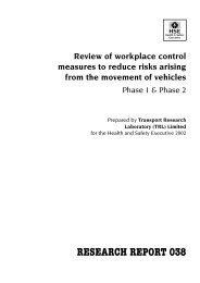 Review of workplace control measures to reduce risks arising from ...