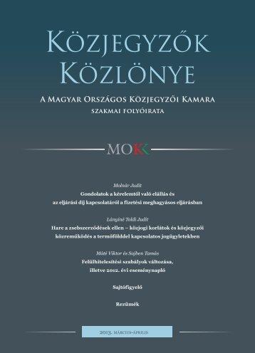 Közjegyzők közlönye 2013. 2. szám - Magyar Országos Közjegyzői ...