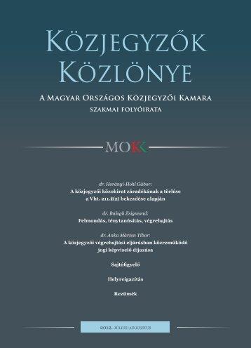 Közjegyzők közlönye 2012. 4. szám - Magyar Országos Közjegyzői ...