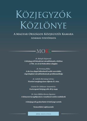 Közjegyzők közlönye 2012. 3. szám - Magyar Országos Közjegyzői ...
