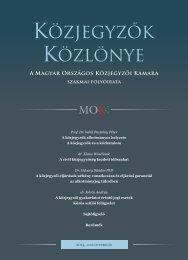 Közjegyzők közlönye 2013. 1. szám - Magyar Országos Közjegyzői ...