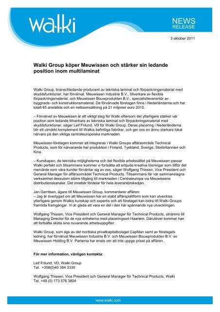 External release_Walki acquires Meuwissen_sv