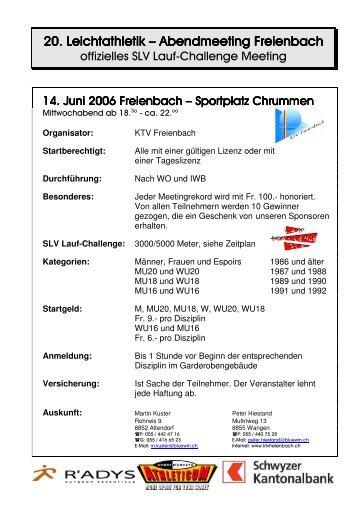20. Leichtathletik Meeting Freienbach - KTV Freienbach