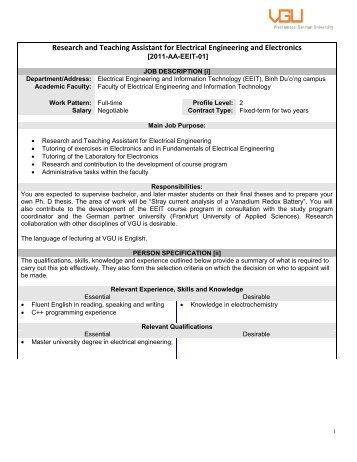 When a vacancy occurs - Vietnamese-German University