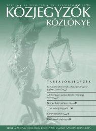 Közjegyzők közlönye 2010. 6. szám - Magyar Országos Közjegyzői ...